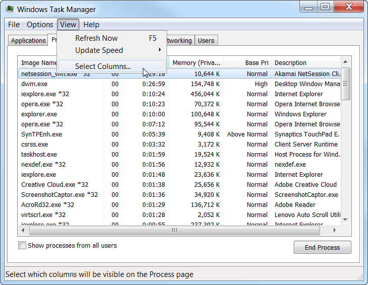 Task Manager Select Columns