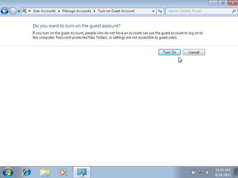 Windows 7 Manage Accounts enable Guest Account