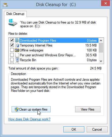 Windows 8.1 Disk Cleanup Clean up System Files