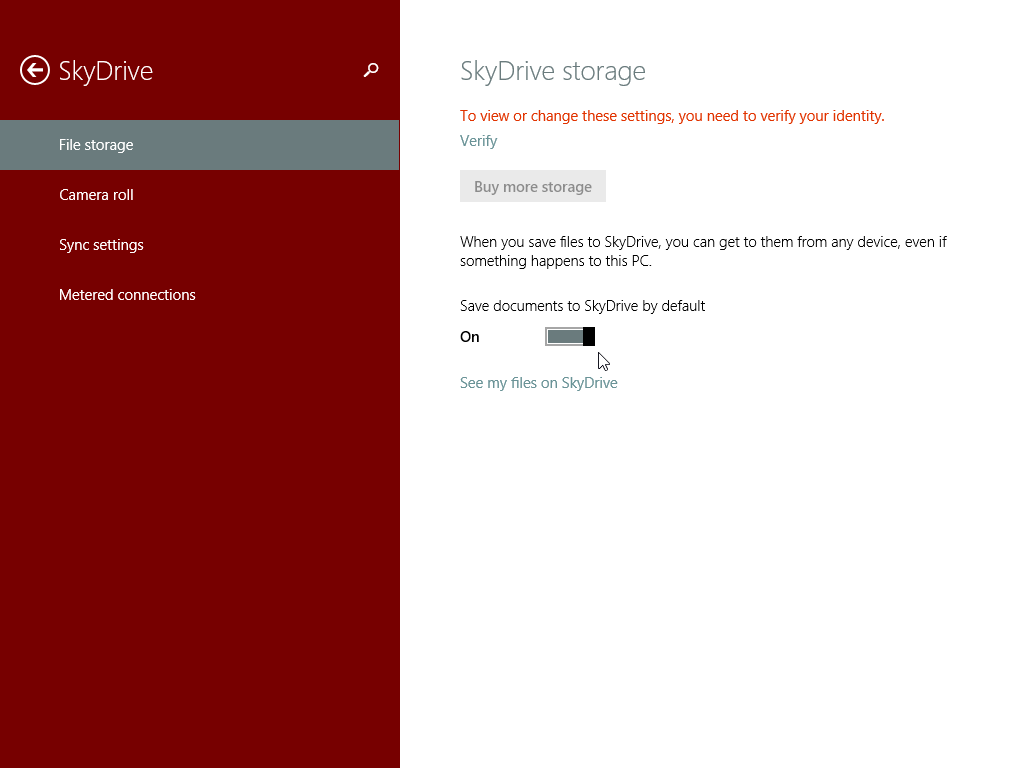 Windows 8.1 Automatically save files to SkyDrive by default