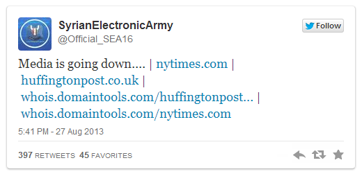 Syrian Electronic Army tweet to take down nytimes.com