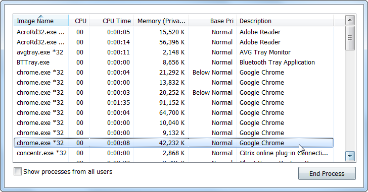 Google Chrome Process List