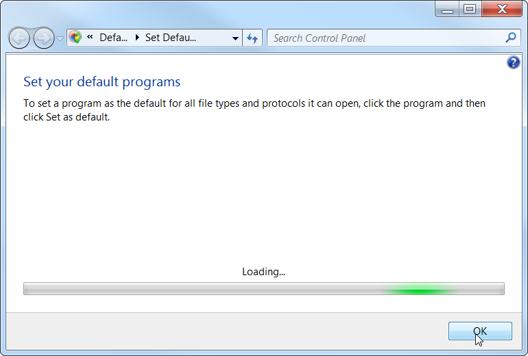 Windows 7 set default program
