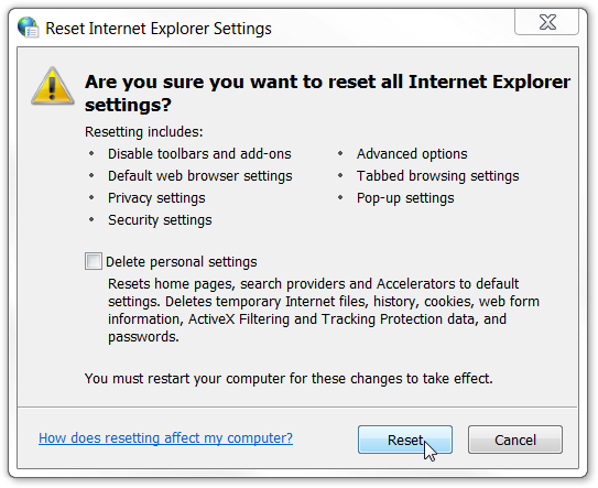 Internet Explorer are you sure you want to reset all Internet Explorer settings?