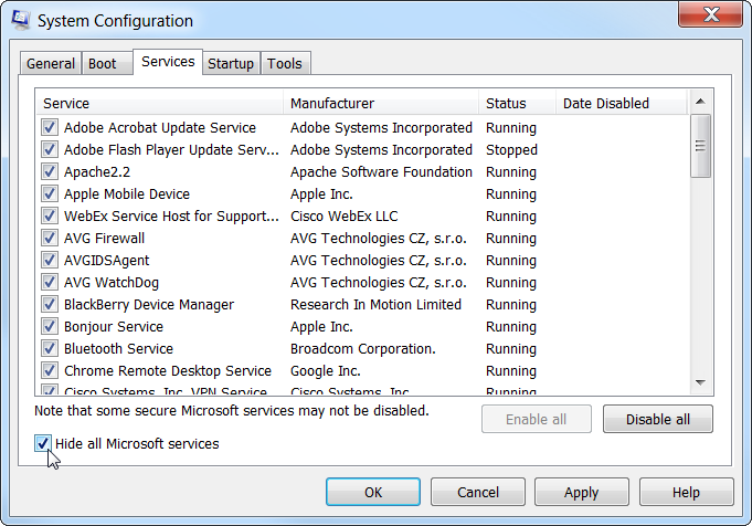 MSCONFIG.exe hide all Microsoft services
