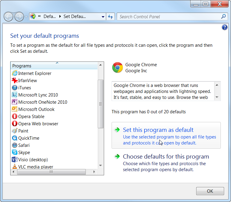 Windows 7 Set Program As Default