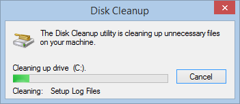 Disk Cleanup working hard cleaning your hard drive
