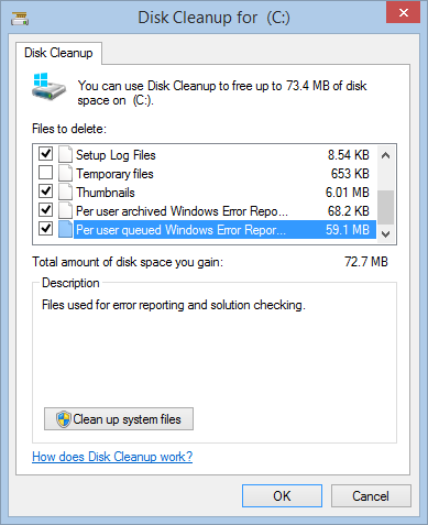 how to run disk cleanup on windows 8