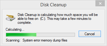 Disk Cleanup Calculating Space