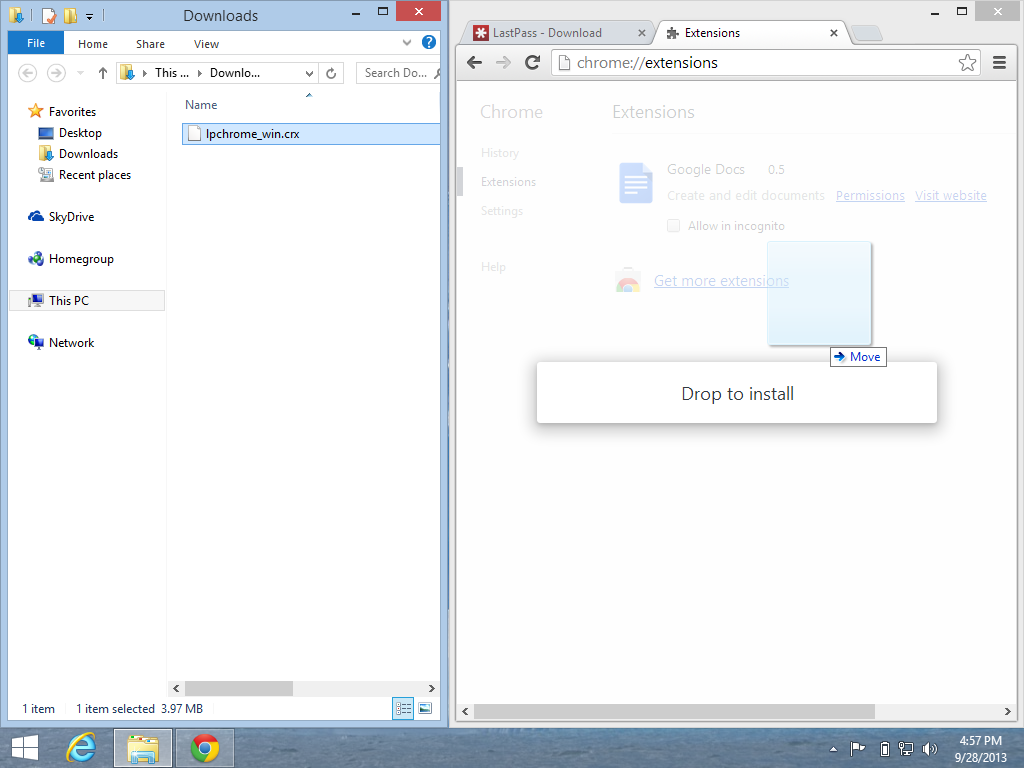 Windows 8.1 Chrome manually adding extensions