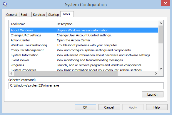 Windows 8.1 Msconfig Tools