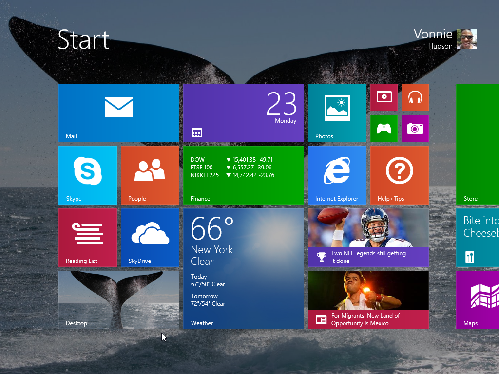 Windows 8.1 Start Screen with Desktop Background