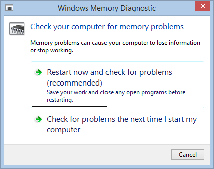 Windows 8.1 Memory Diagnostic Tool