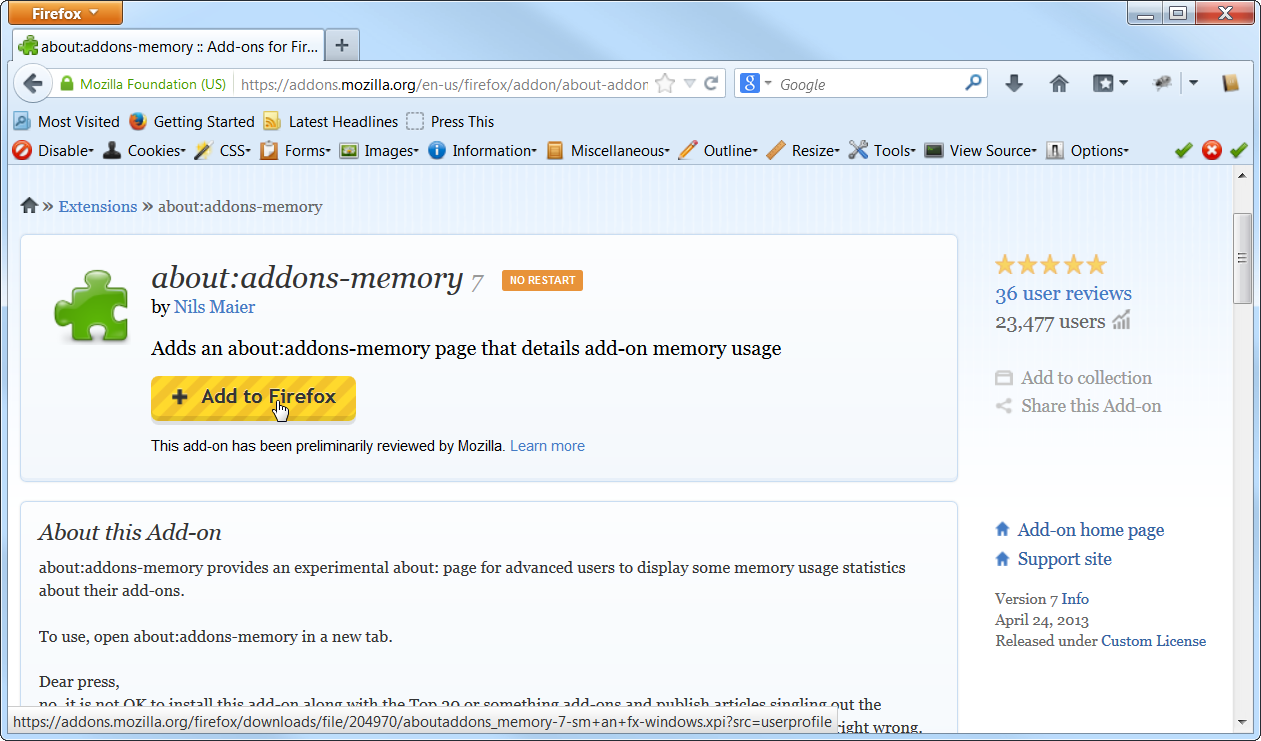 Firefox Memory Extensions