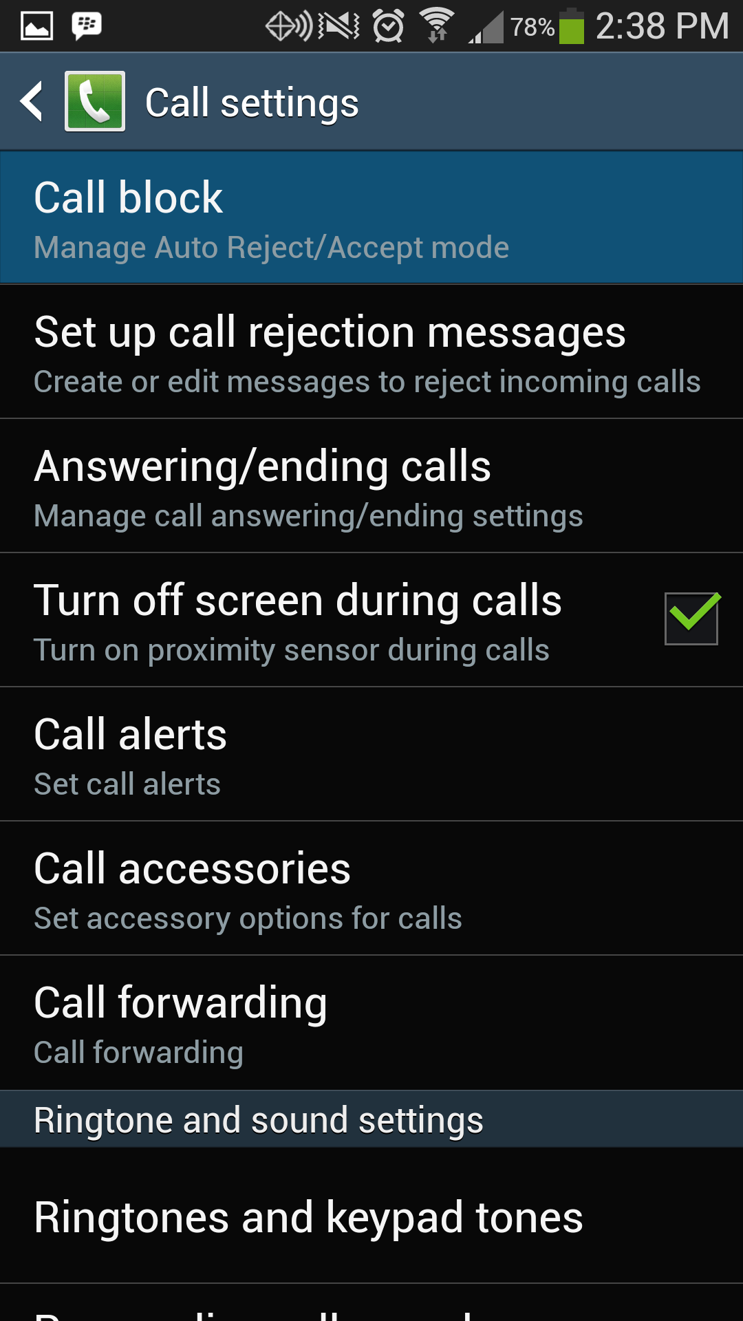 Galaxy S4 Call Block
