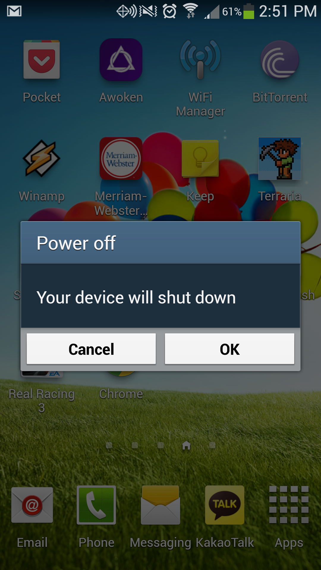 Power off Galaxy S4 Confirmation