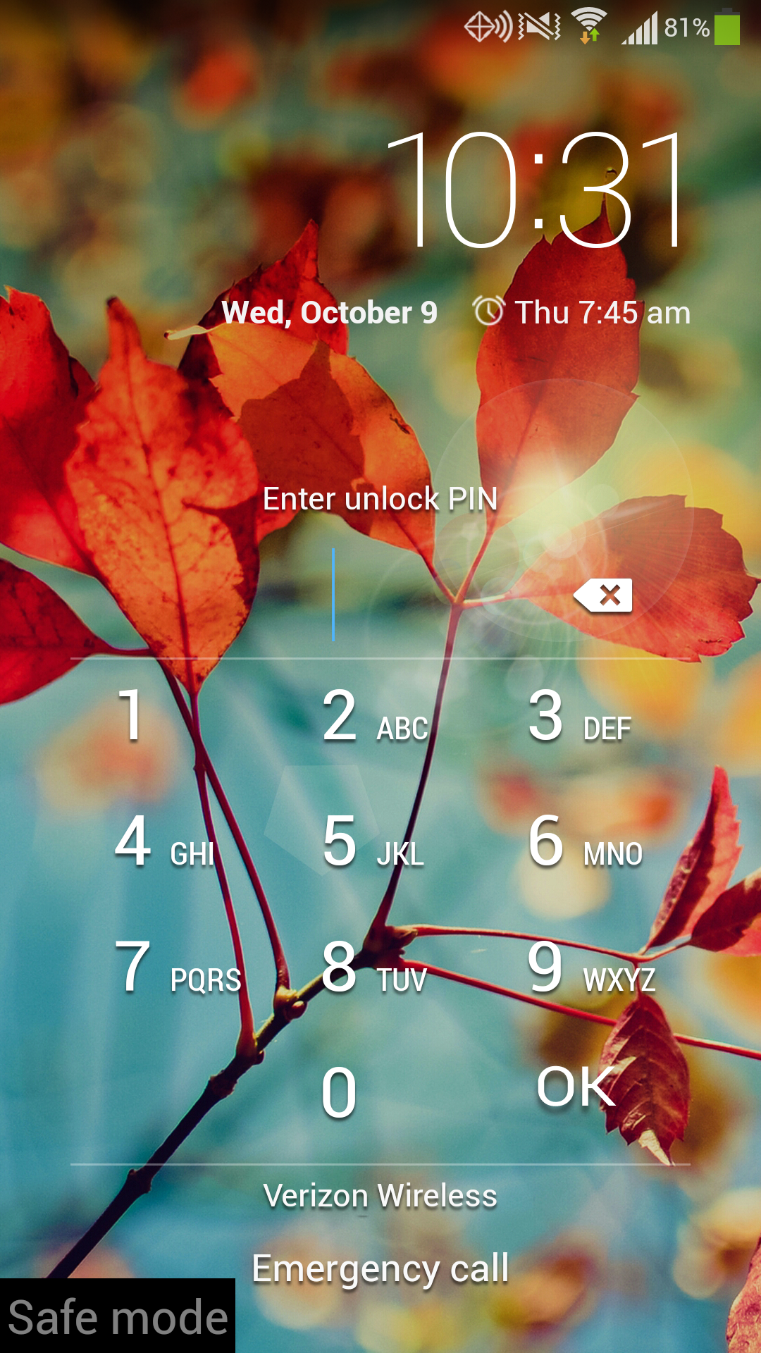 Galaxy S4 Safe Mode Login Screen