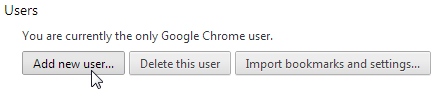 Google Chrome Settings for Adding a new User