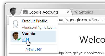 Google Chrome change profile
