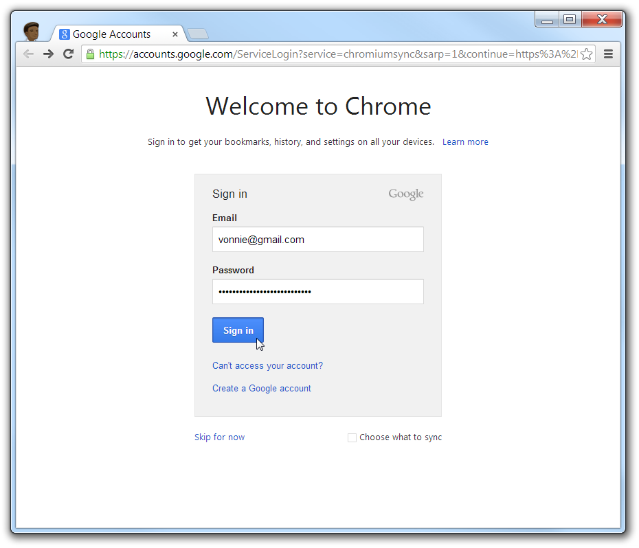 Google Chrome New Profile