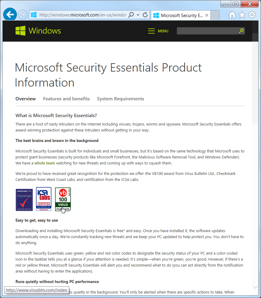 Microsoft Securty Essentials Product Homepage