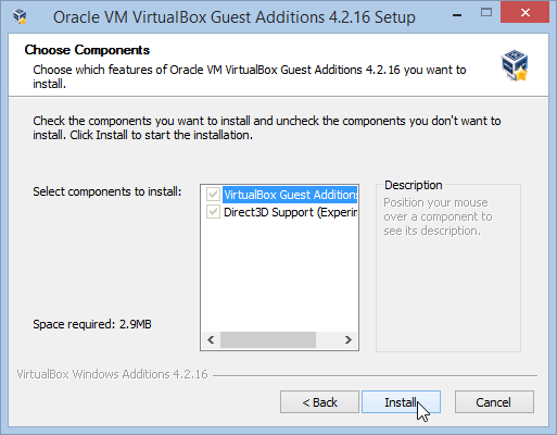 Installing VirtualBox Guest Additions Installation Components