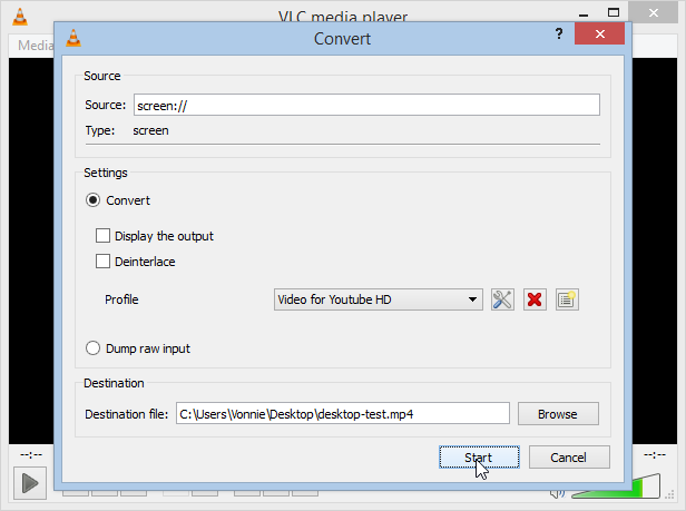 VLC Player Set Destination File