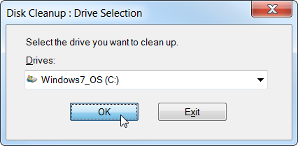 Disk Cleanup Drive Selection Windows 7