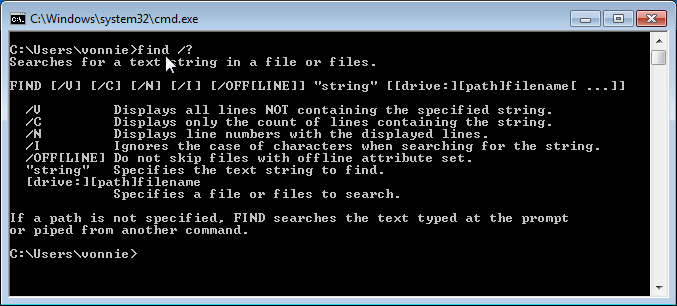 Windows 7 Find command