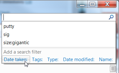 Windows 7 Search Filters Date Taken