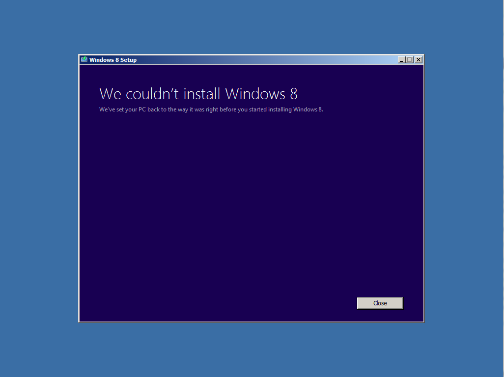 Windows 8 couldn't install