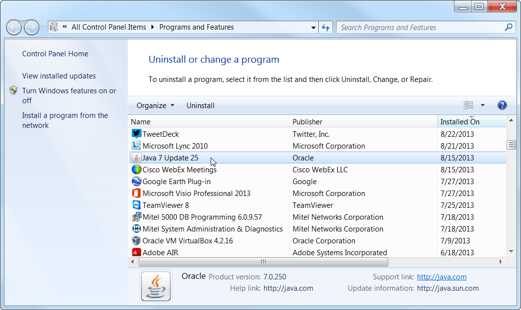 How to Uninstall Java in Windows 7