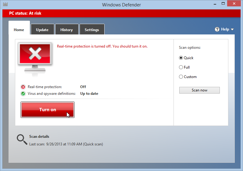 Turn on Protection in Windows Defender