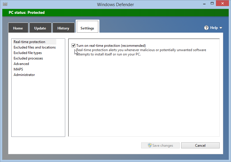 Turn real-time protection off in Windows defender