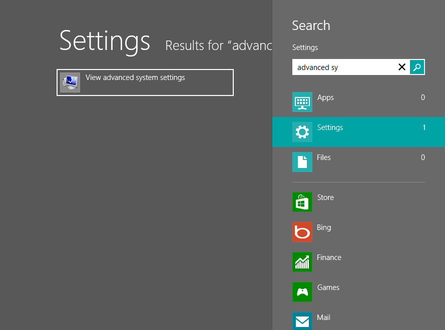 Windows 8 Advanced System Settings