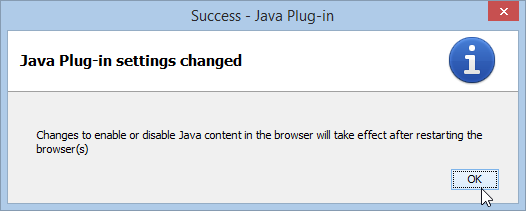 Windows 8 Java Plug-in settings changed