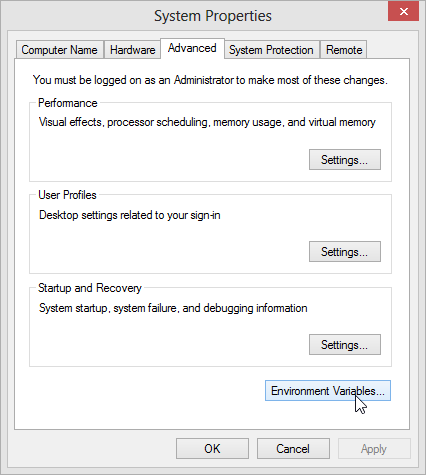 Setting Windows 8 environment variables