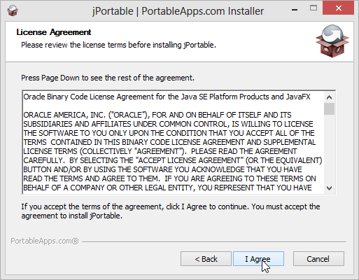 Install jPortable keep defaults