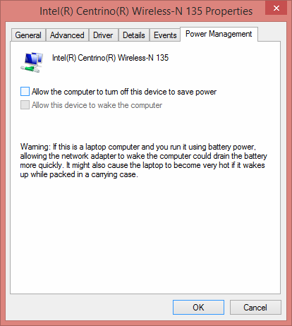 Windows 8 uncheck Allow the Computer to Save Power