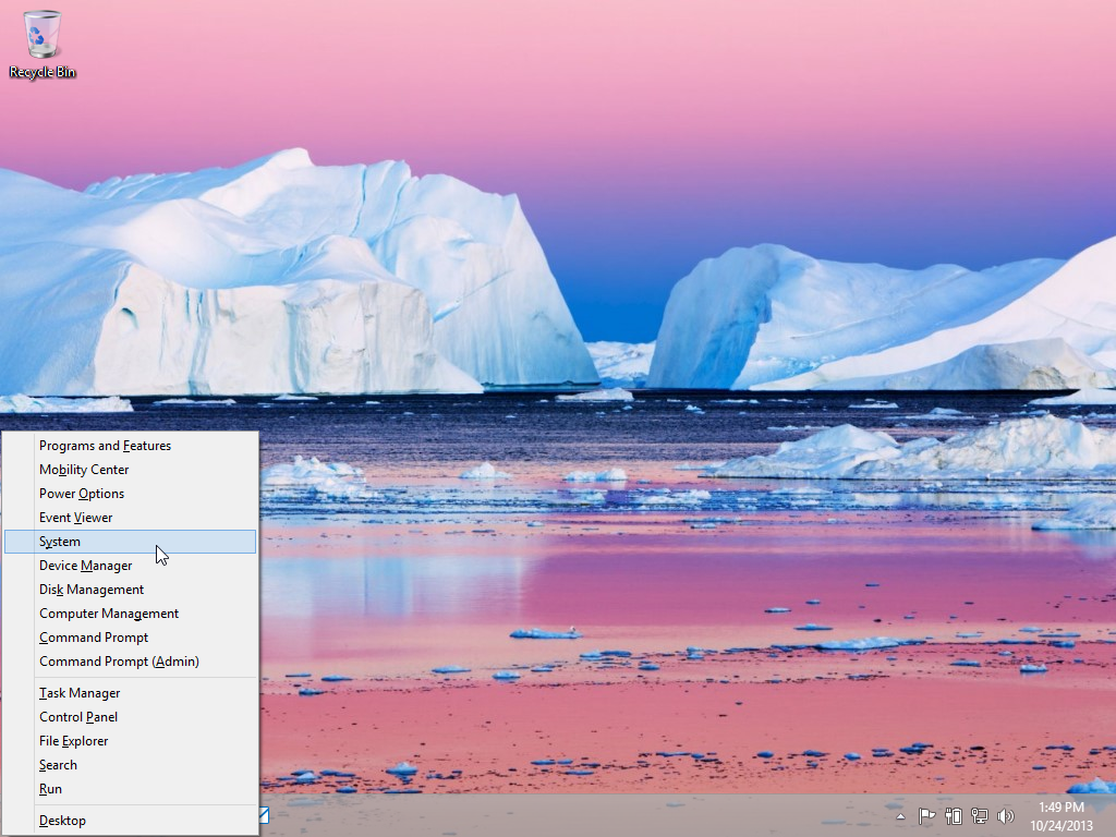 Windows 8 Quick Launch Menu