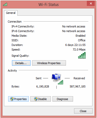 Windows 8 Wi-Fi Status Properties