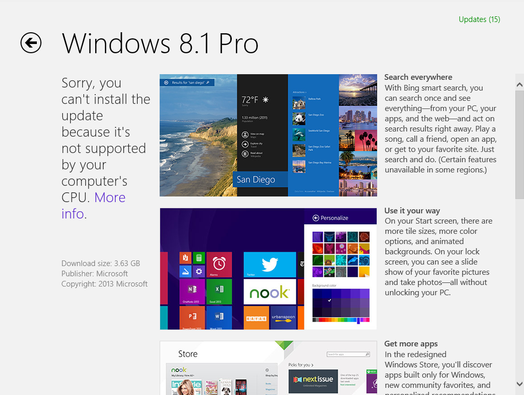 Windows 8.1 Pro not supported CPU