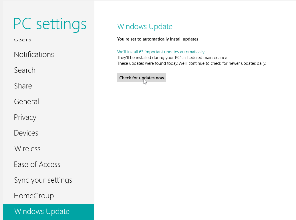 How to install Windows 8 updates