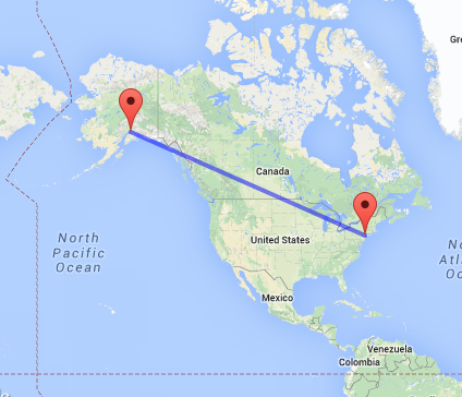 Distance from New York City to Anchorage Alaska
