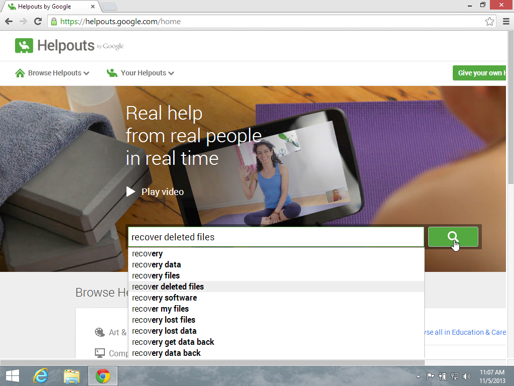 Google Helpouts Homepage