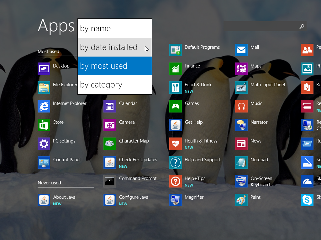 Windows 8.1 Apps sorted