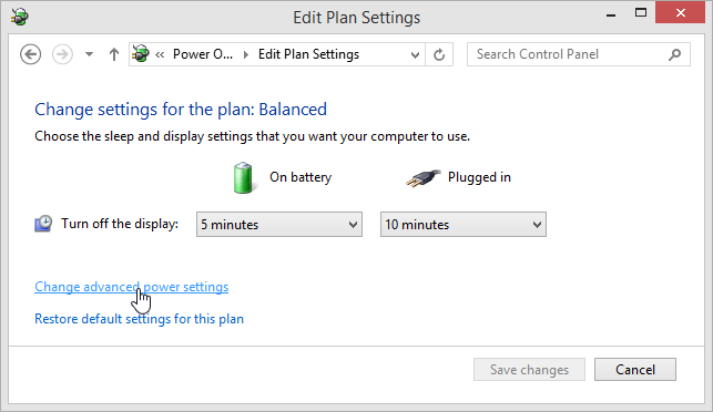 Windows 8.1 Edit Plan Settings