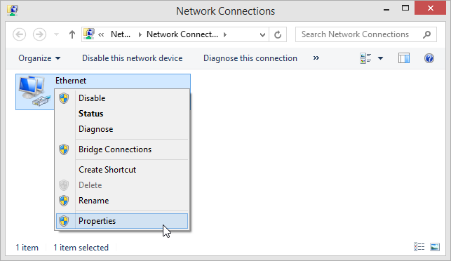 Windows 8.1 Network Connections