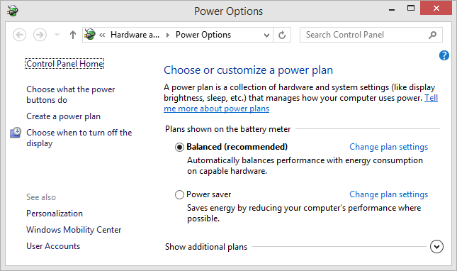 Windows 8.1 Power Options