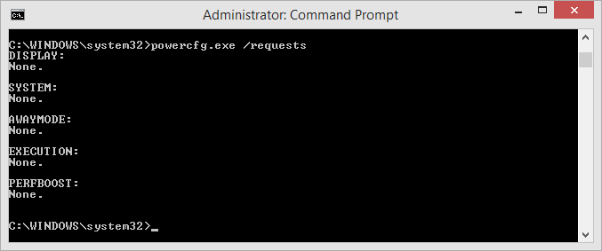 Windows 8.1 powercfg.exe requests